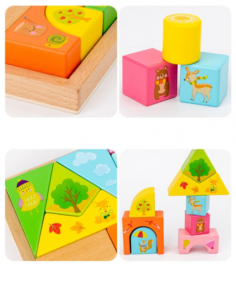 Set Cuburi de constructie cu animale din lemn cu cutie 9