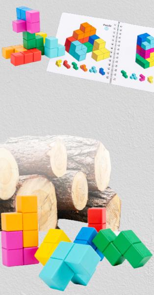 Cuburi lemn de construit 3D 2