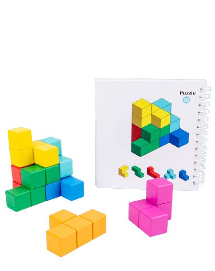 Cuburi lemn de construit 3D 3