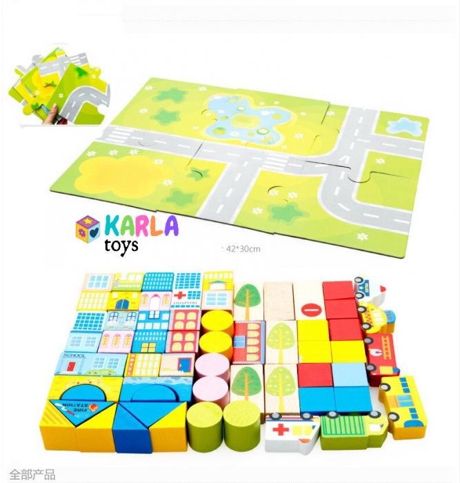 Cuburi lemn de construit cu covor puzzle Traficul Urban 1