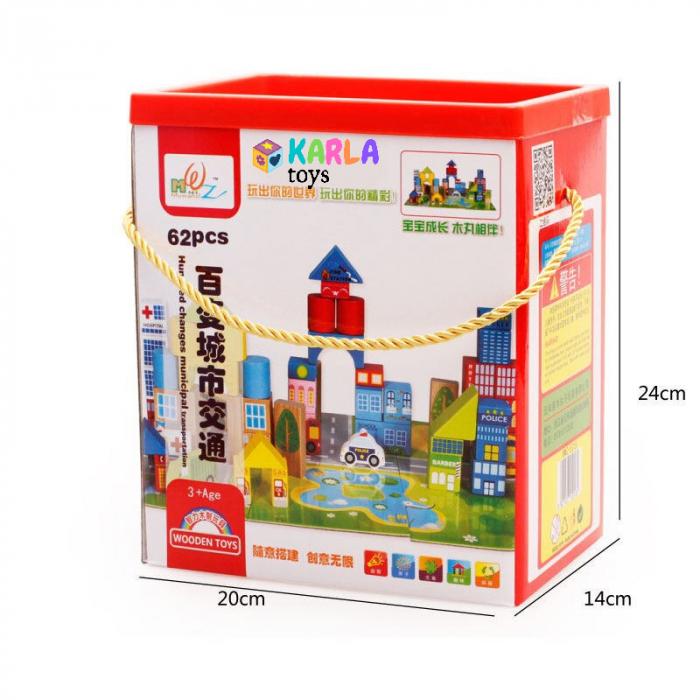 Cuburi lemn de construit cu covor puzzle Traficul Urban 5