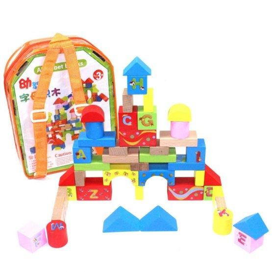 Set cuburi din lemn cu ghiozdan 0