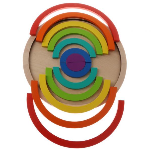 Joc din Lemn Montessori Curcubeu Dublu -Puzzle Lemn Curcubeu 14 Piese 5