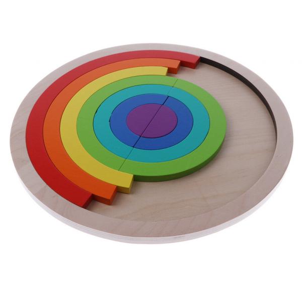 Joc din Lemn Montessori Curcubeu Dublu -Puzzle Lemn Curcubeu 14 Piese 3