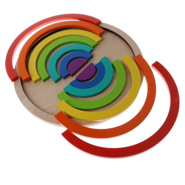 Joc din Lemn Montessori Curcubeu Dublu -Puzzle Lemn Curcubeu 14 Piese 6