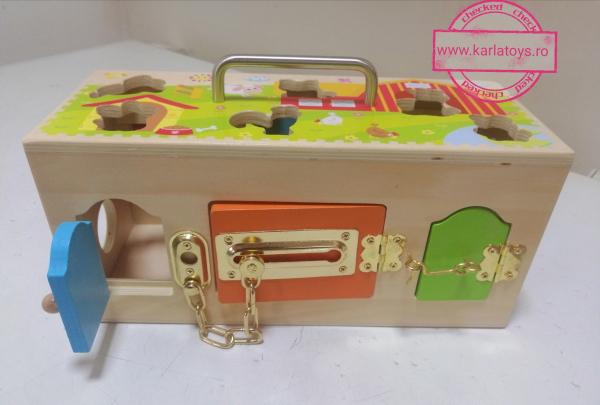 Cutia incuie si deschuie din lemn cu forme si animale - Joc montessori Cutia cu incuietori 6