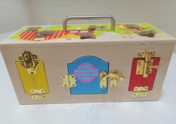 Cutia incuie si deschuie din lemn cu forme si animale - Joc montessori Cutia cu incuietori 4