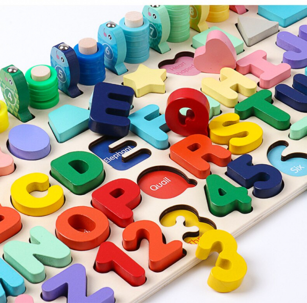 Joc de Lemn Litere, Forme, Cifre, Joc de Pescuit - Joc de Lemn Multifunctional Logarithmic 4 in 1 1
