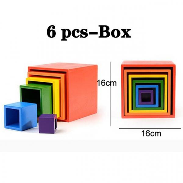 Cuburi din Lemn Curcubeu Montessori 0