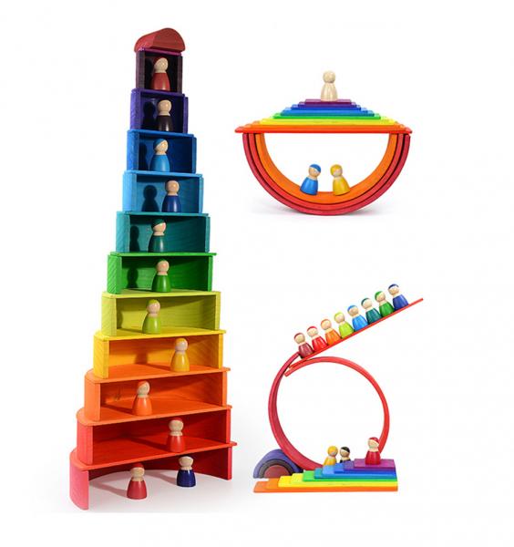 Papusi de Lemn Peg Doll Montessori - Papusi Curcubeu din Lemn Montessori 7