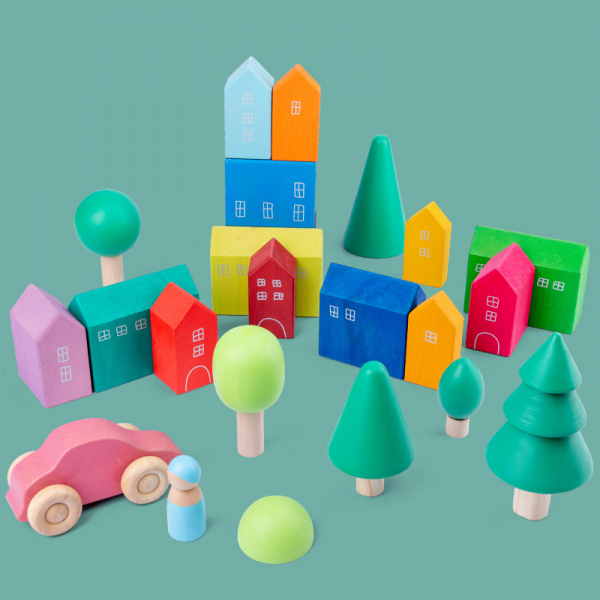 Set Cuburi Lemn Orasul Curcubeu - Rainbow House set 15 piese 1
