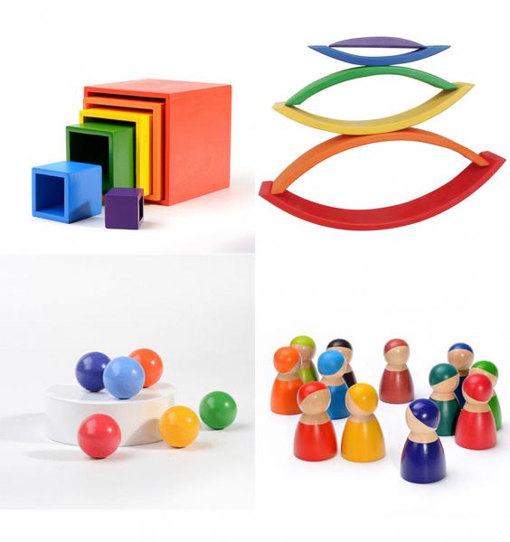 Cuburi din Lemn Curcubeu Montessori 1