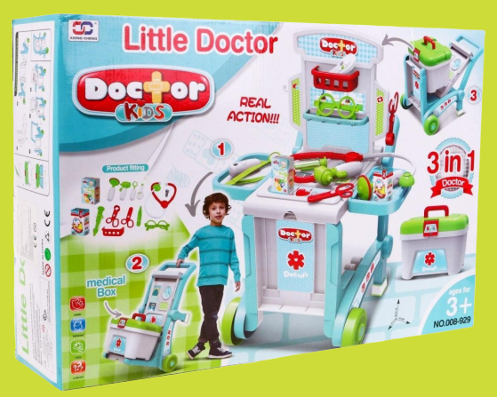 Set Trusa  doctor 3 in 1 troler Little Doctor 6