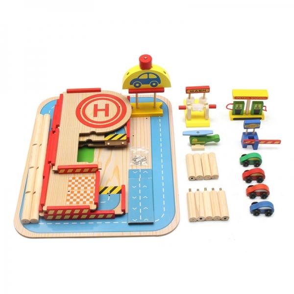 Jucarie Parcare din lemn Public Garage cu accesorii 1