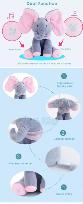Elefantul Vorbitor Jucarie interactiva Elefantul Cucu bau Peek-a-boo 2