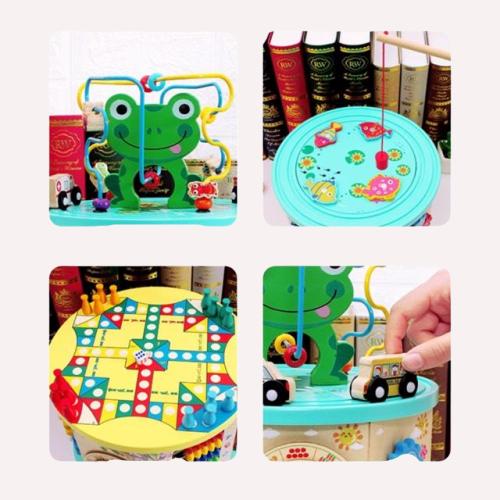 Hexagon din lemn multifunctional Broscuta 7 in 1 joc de pescuit si masinute 2