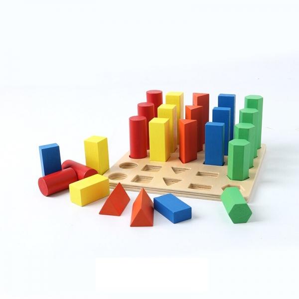 Joc lemn montessori forme geometrice - Joc Montessori Scara din lemn învățare lungime formă geometrică [1]