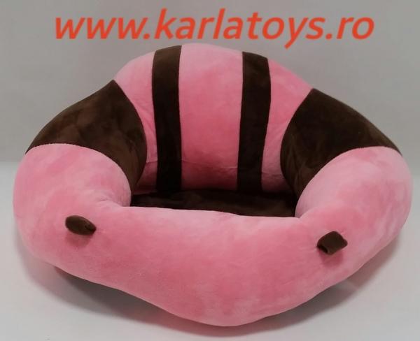 Fotoliu din plus bebe Sit Up  colorate roz cu inimioare 12
