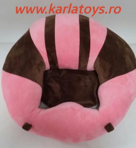 Fotoliu din plus bebe Sit Up  colorate roz cu inimioare 11