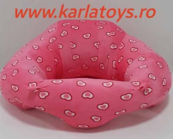 Fotoliu din plus bebe Sit Up  colorate roz cu inimioare 3