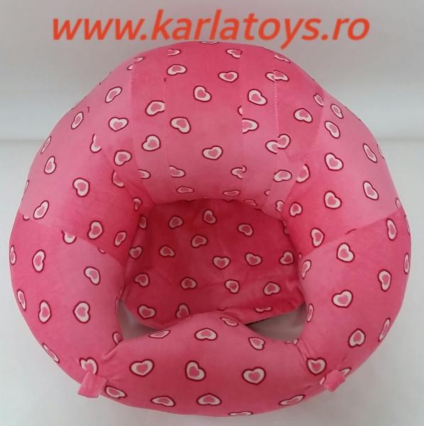 Fotoliu din plus bebe Sit Up  colorate roz cu inimioare 4