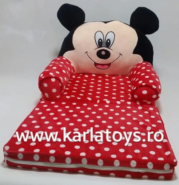 Fotoliu extensibil XXLdin plus Mickey Mouse cu buline 120 cm 0