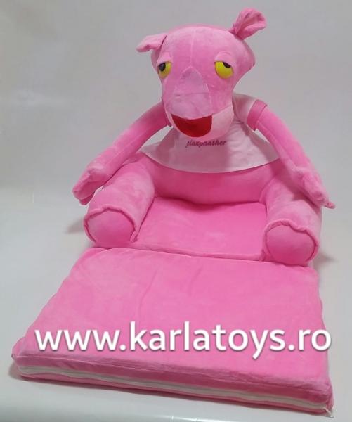 Fotoliu extensibil Pantera Roz din plus pentru copii 80 cm 0