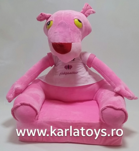 Fotoliu extensibil Pantera Roz din plus pentru copii 80 cm 1