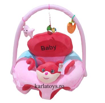 Fotoliu Plus Bebe sit up cu arcada de jucarii Baby roz 0