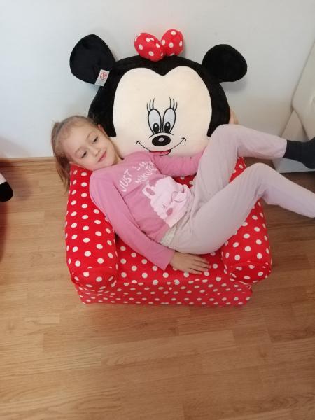 Fotoliu plus extensibil Minnie Mouse cu buline mare 120 cm [2]