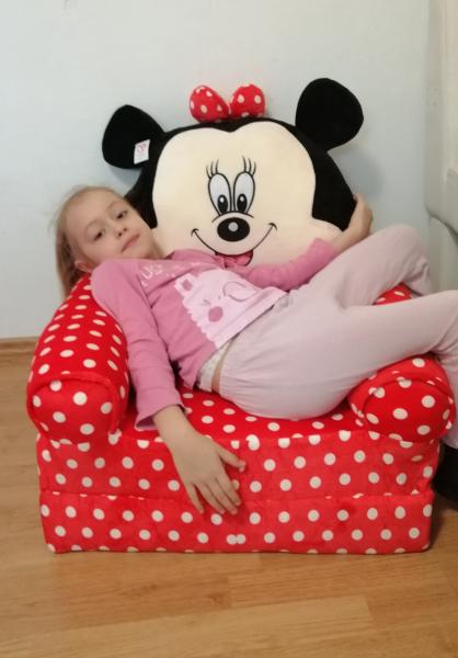 Fotoliu plus extensibil Minnie Mouse cu buline mare 120 cm [7]