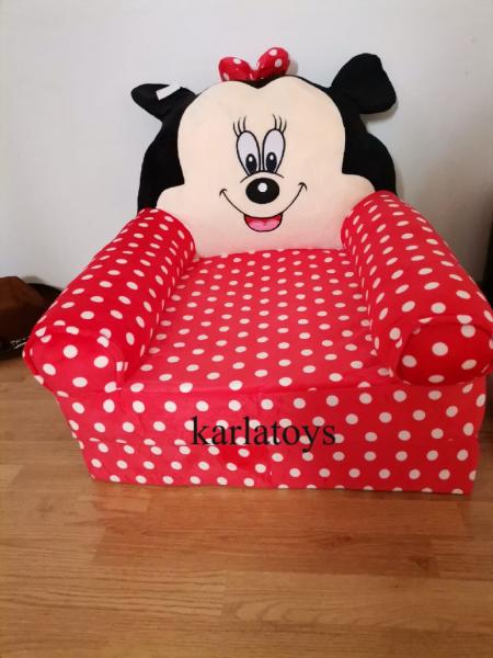 Fotoliu plus extensibil Minnie Mouse cu buline mare 120 cm [11]