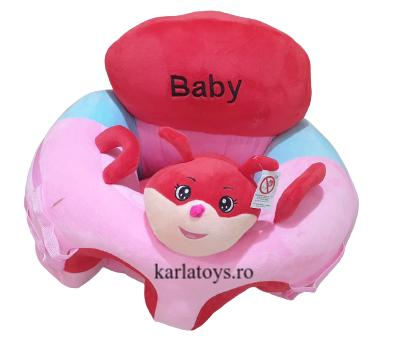 Fotoliu Plus Bebe sit up cu arcada de jucarii Baby roz 1