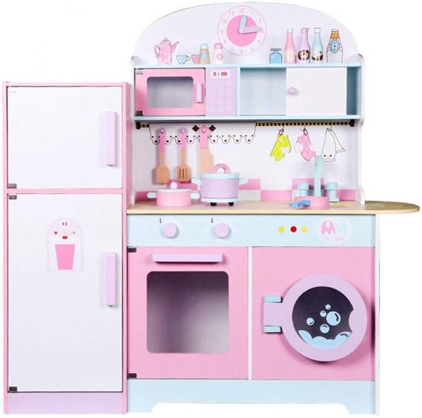 Set Bucatarie si frigider de lemn copii - Bucatarie din lemn Dubla 0