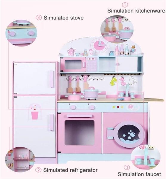Set Bucatarie si frigider de lemn copii - Bucatarie din lemn Dubla 1