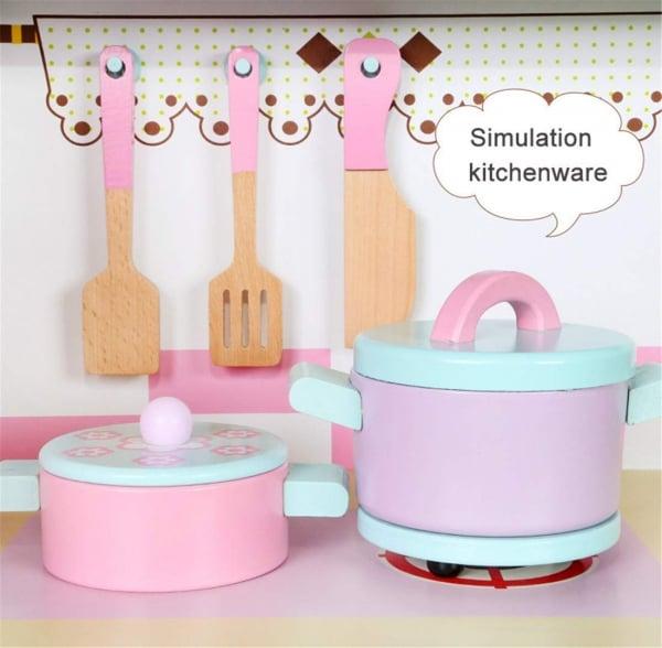 Set Bucatarie si frigider de lemn copii - Bucatarie din lemn Dubla 2