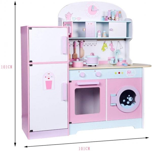 Set Bucatarie si frigider de lemn copii - Bucatarie din lemn Dubla 3