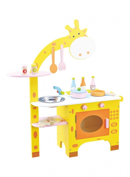 Bucatarie din Lemn Girafa cu accesorii pentru copii 1