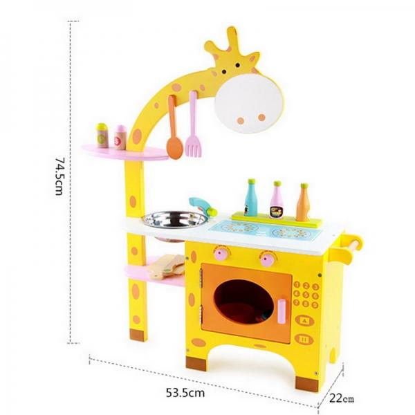 Bucatarie din Lemn Girafa cu accesorii pentru copii 2