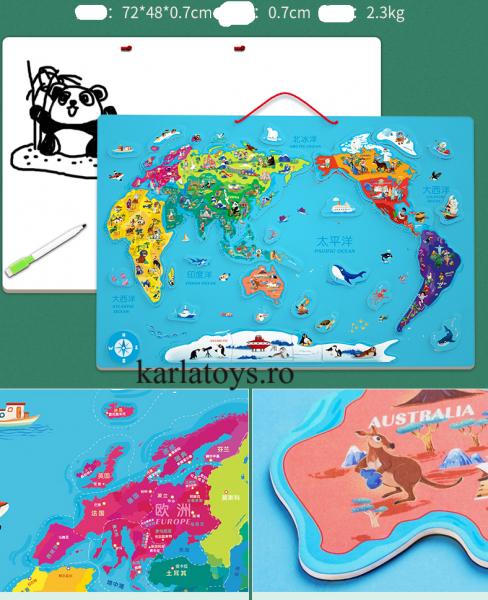 Harta lumii de perete magnetica cu 2 fete 1