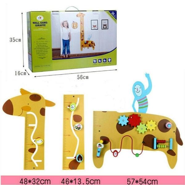 Placa de masurat din lemn Girafa cu activitatii copii 1