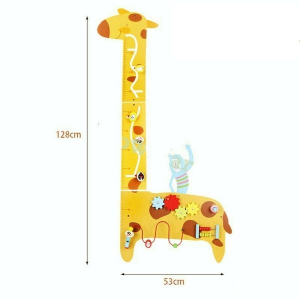 Placa de masurat din lemn Girafa cu activitatii copii 0