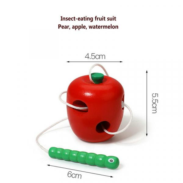 Joc de snuruit din lemn Fructe - Set 3 fructe de lemn 6