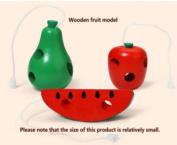 Joc de snuruit din lemn Fructe - Set 3 fructe de lemn 3
