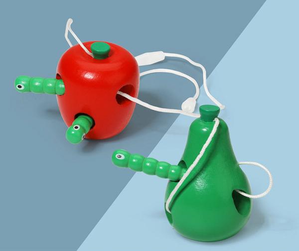 Joc de snuruit din lemn Fructe - Set 3 fructe de lemn 1