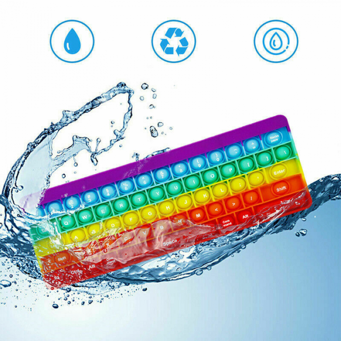 Joc antistres din silicon Pop it Tastatura Multicolora Keyboard [8]