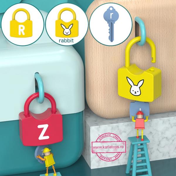 Joc copii Lacate si Litere - Set chei copii Alfabet si Imagini 9