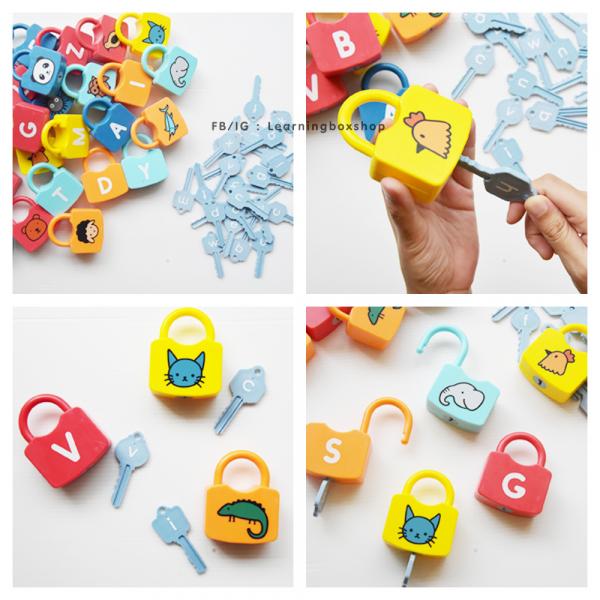 Joc copii Lacate si Litere - Set chei copii Alfabet si Imagini 4