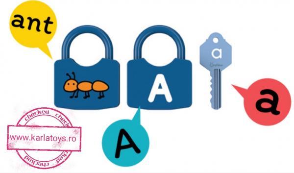Joc copii Lacate si Litere - Set chei copii Alfabet si Imagini 8