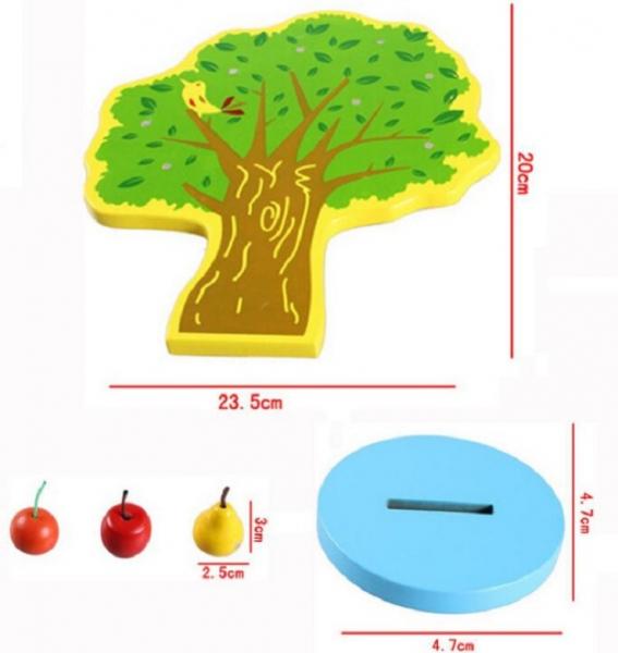 Joc de Lemn Montessori Pomul cu Mere - Apple Tree 2